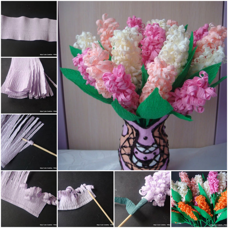 Diy beautiful crepe paper hyacinth flower mightylinksfo