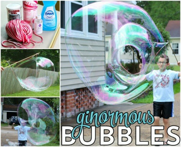 DIY Ginormous Bubbles tutorial for Kids Outdoor Fun