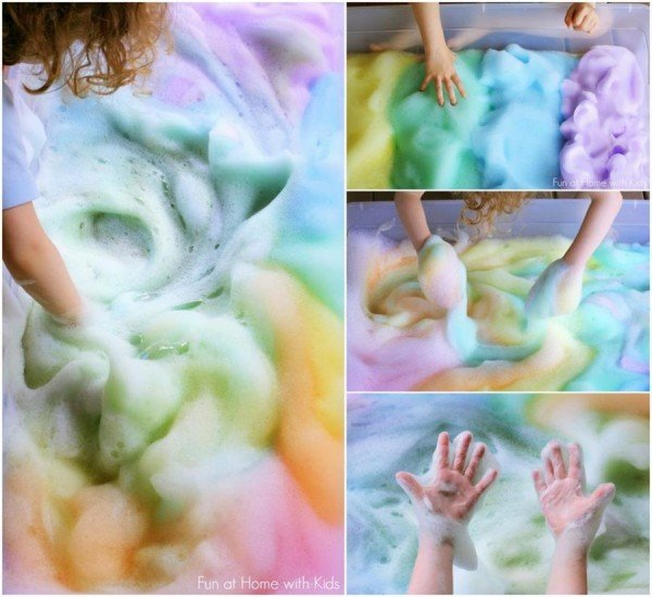 DIY Rainbow Soap Foam Bubbles tutorial for Kids Fun