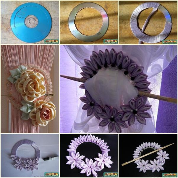 Cinta de la flor DIY Cortina Nudo del casco antiguo de CD