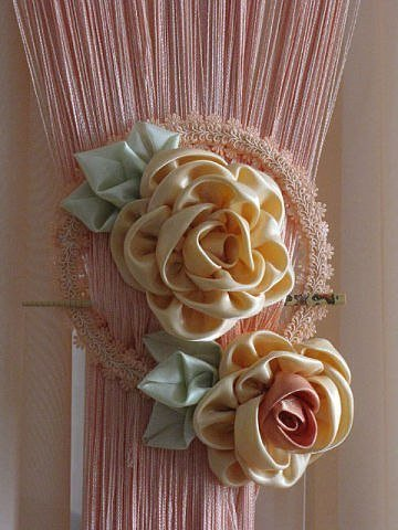Diy Ribbon Flower Curtain Knot From Old Cd
