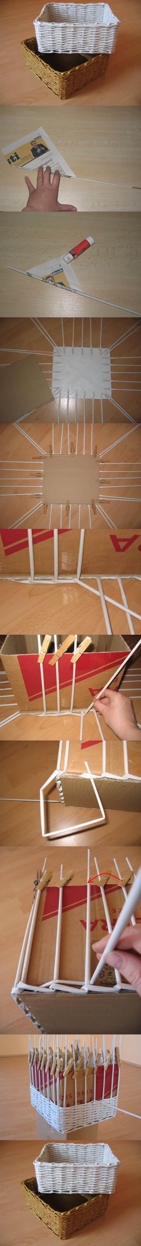 DIY Woven Storage Organizer from Newspaper