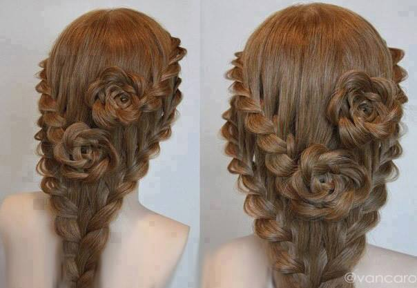DIY Updo Lace Braid Rose Hairstyle for Long Hair - Fab Art DIY