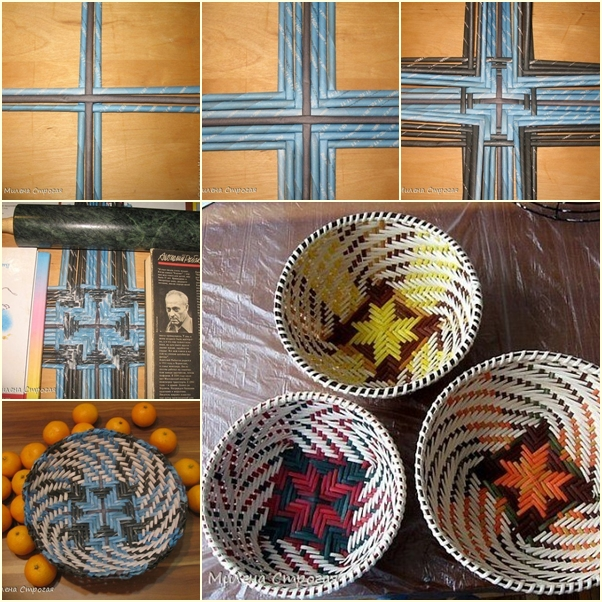 Diy woven swirl patterned bowl basket from paper tube for How to make a newspaper bowl