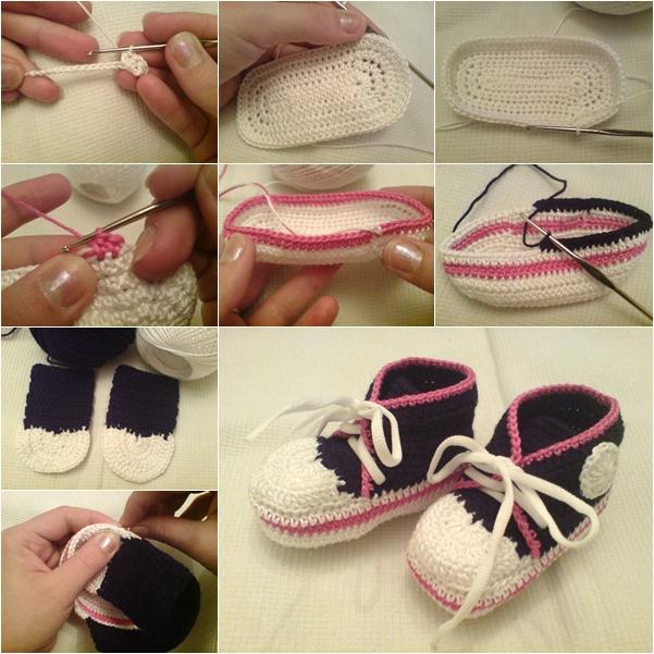 "DIY Crochet ""Converse"" Style Baby Sneakers"