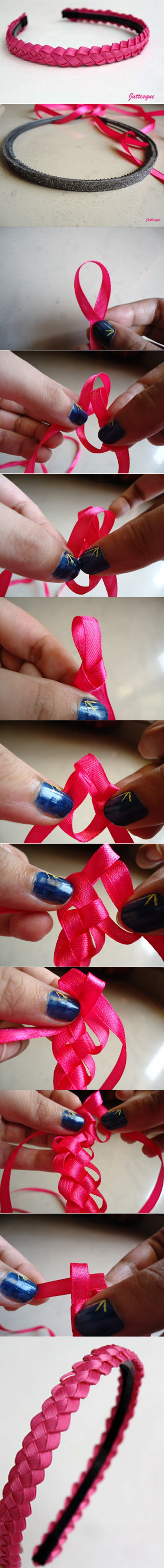 braided ribbon hairband tutorial