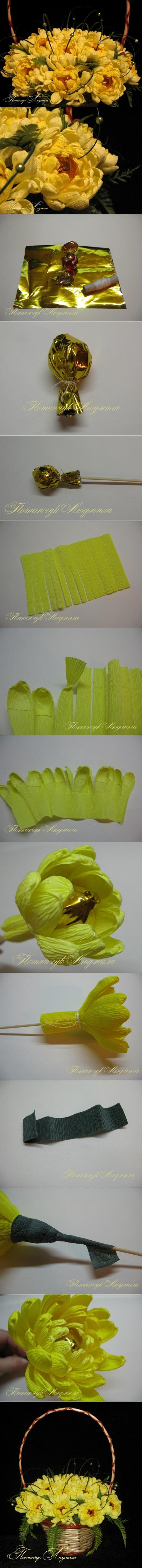 chrysanthemum flower bouquet tutorial