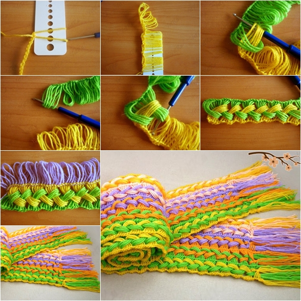 DIY Hhook on the line scarf using ruler free pattern and tutorial