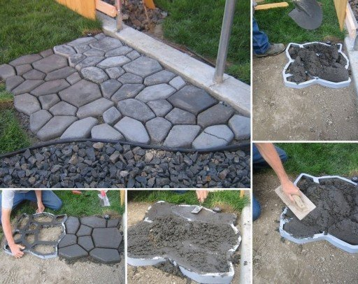 How to diy concrete cobble stone garden path for Cement garden paths