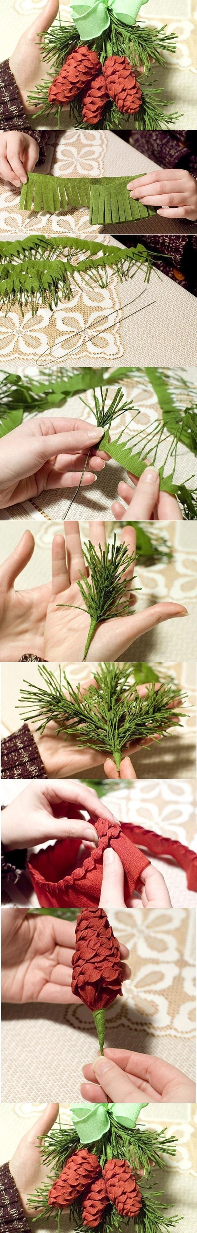crepe papaer pine cone tutorial