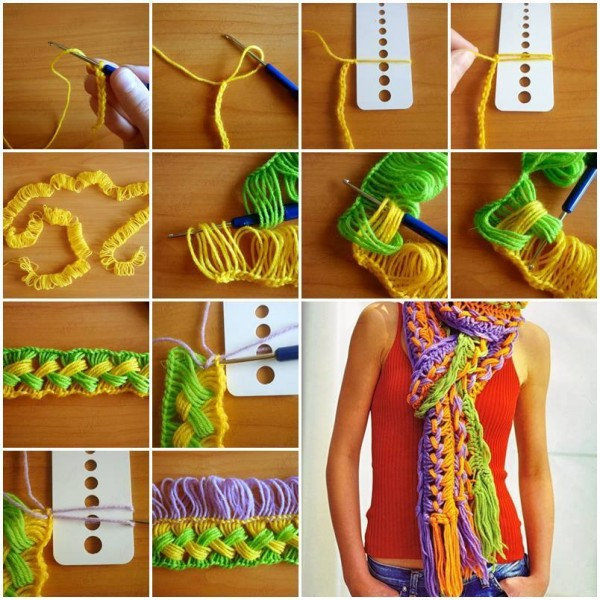 DIY Hook on the line scarf using ruler free pattern and tutorial