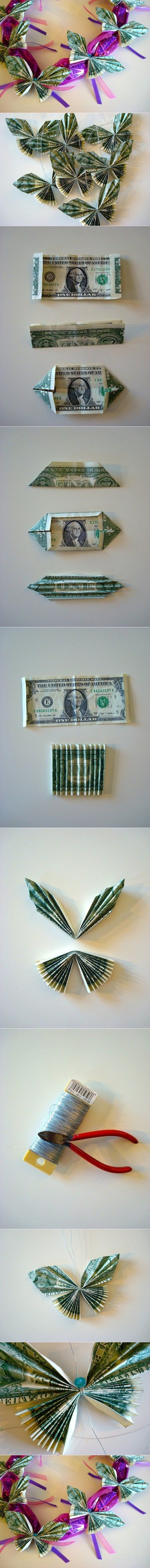 DIY Dollar Bill Butterfly
