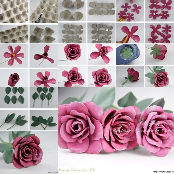diy beautiful roses from upcycled egg carton box
