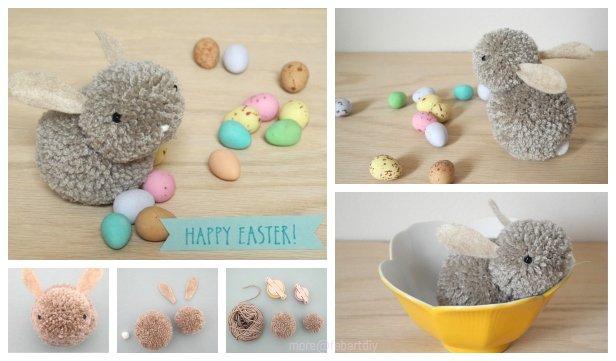 Diy Cute Pom Pom Easter Bunny
