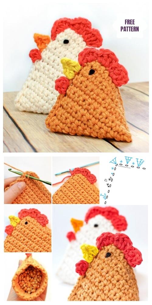 DIY Easter Chicken Bean Bag Free Crochet Pattern