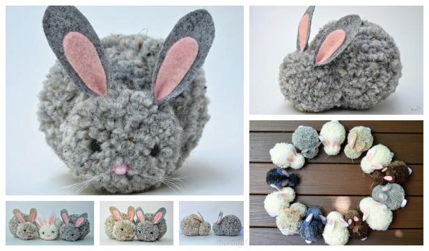 Diy Cute Easter Pom Pom Party Bunnies - Diy Crafts