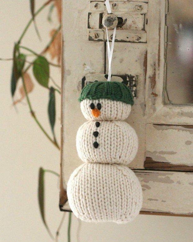 DIY Knit Snowman Ornament Free Pattern - Hanging Parson Brown Snowman Free Knitting Pattern