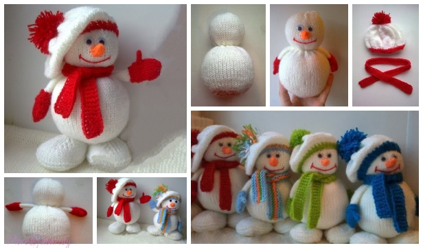 DIY Knitted Winter Hat Snowman Free Knitting Patterns