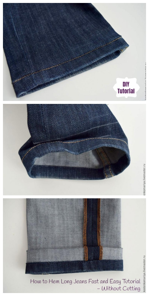 How to Perectly Hem Long Jeans Fast and Easy Tutorial without Cutting (And Keep Original Hem)