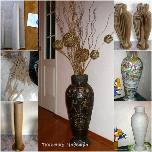 Diy retro floor vase from recycled cardboard fab art diy - Great decorative flower vase designs ...