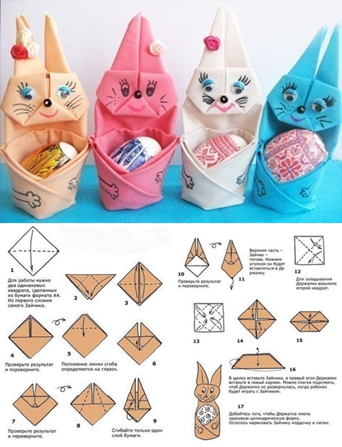 Napkin folded Bunny with Easter Egg tutorial