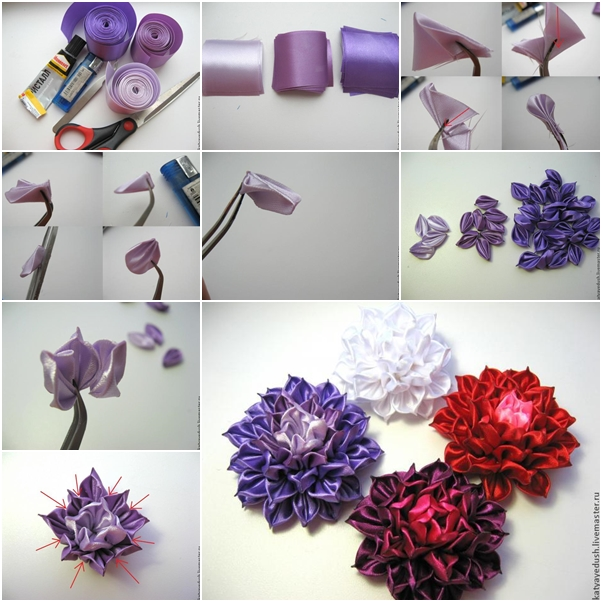 Diy Kanzashi Ribbon Flower Fab Art Diy