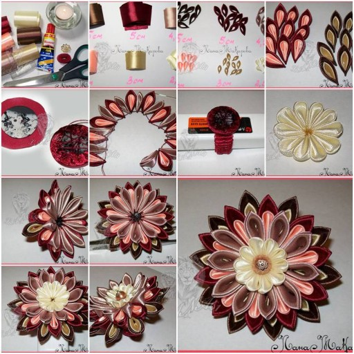 Diy Beautiful Kanzashi Ribbon Flower Fab Art Diy