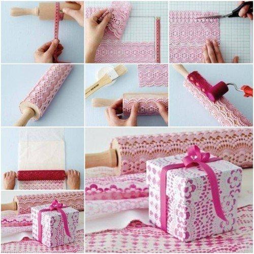 DIY Self-Print Lace Pattern Gift Wrap