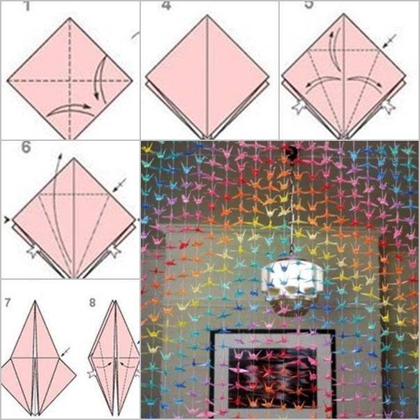 Diy paper origami crane curtain fab art diy for Paper curtains diy