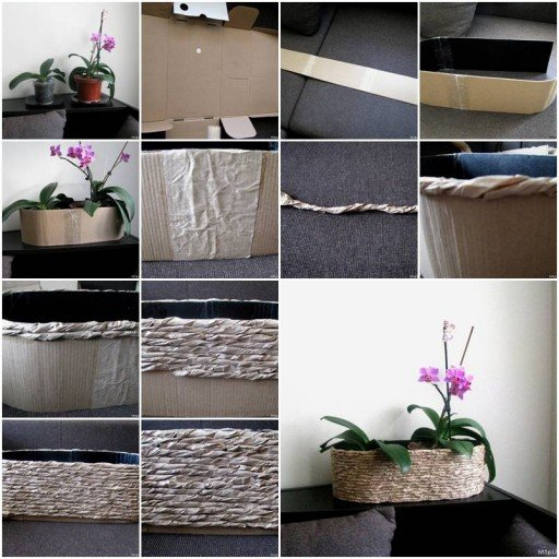 packing paper and cardboard planter f