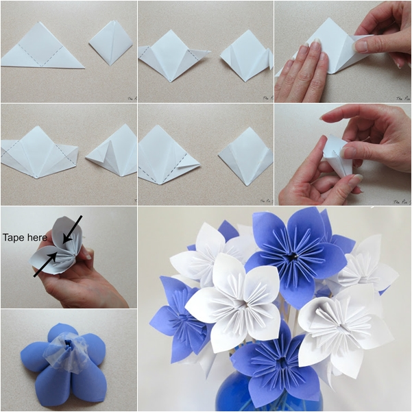 DIY Origami Paper Flower Bouquet - Fab Art DIY