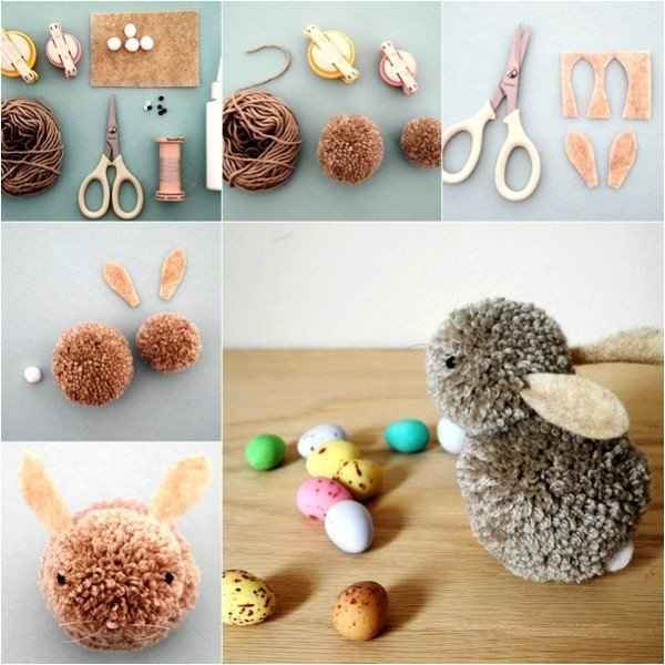 DIY Cute Pom Pom Easter Bunny Tutorial - Video