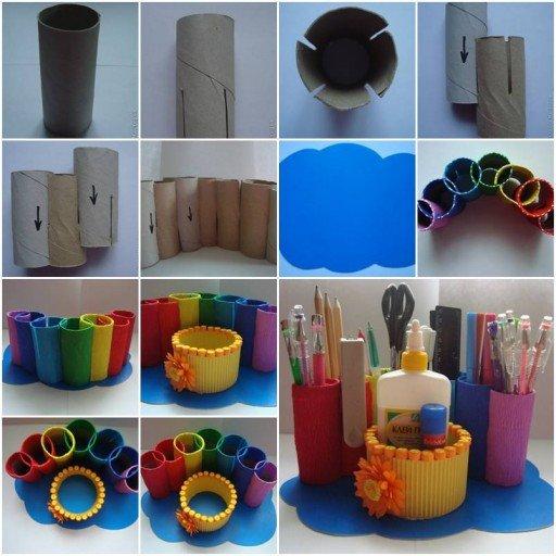 DIY Recycled paper roll rainbow desk organizer tutorial