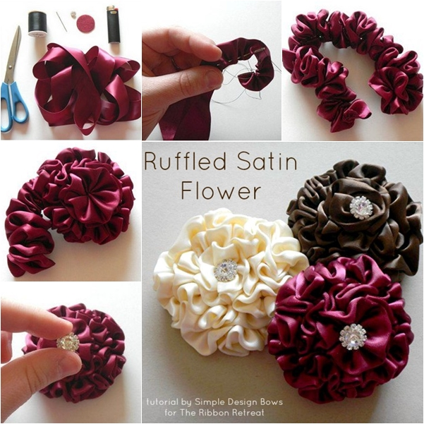Easy way to make ribbon flowers