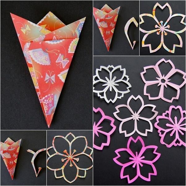 Diy sakura kirigami paper flowers fab art diy for Kirigami paper art