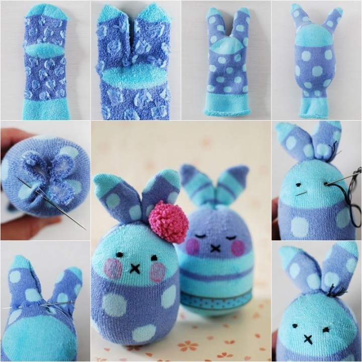 Sew Sock Bunny-10+ Cute Sock Bunny Projects Round Up-DIY Easter Sock Egg Bunny