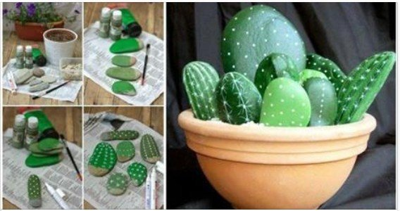 diy rock stone cactus painting tutorial
