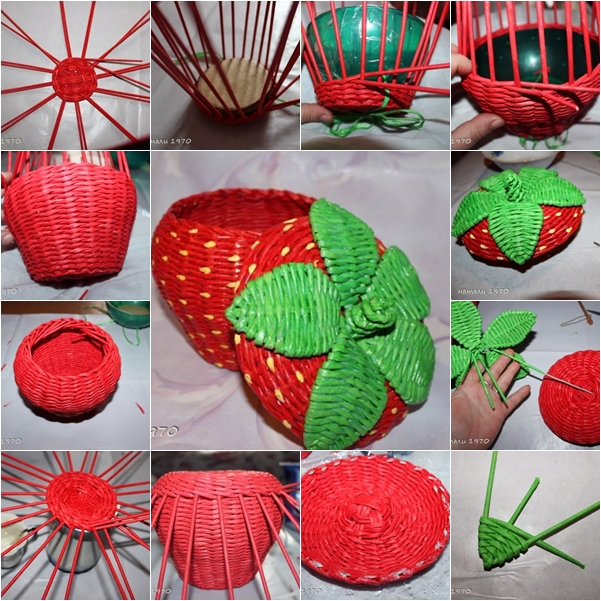 Materials Used For Making A Basket : Diy woven strawberry shaped basket from recycled newspaper
