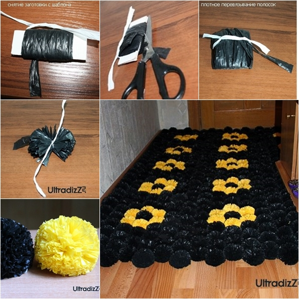 Diy Pom Pom Rug From Trash Bags