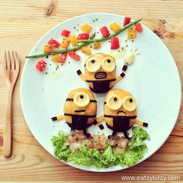 10 creative food art on cartoon display for Art of food decoration