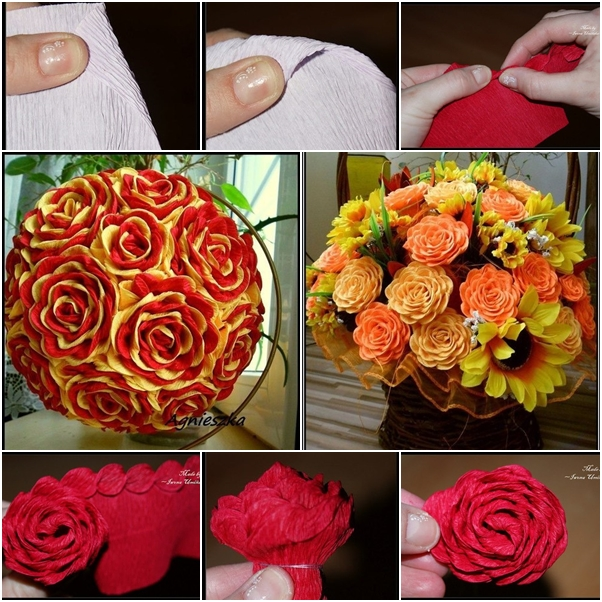 How to make beautiful crepe paper flower bouquet fab art diy tutorials crepe paper flower ball mightylinksfo