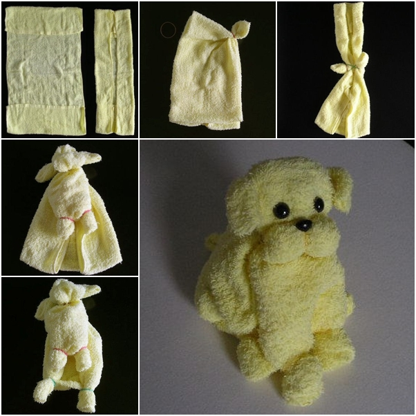 How to make cute puppy from towel fab art diy - How to make towel decorations ...