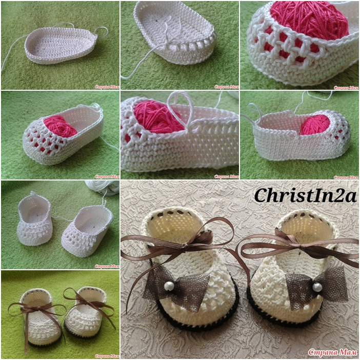 Crochet Baby Bootie with Ribbon Tie Free Pattern