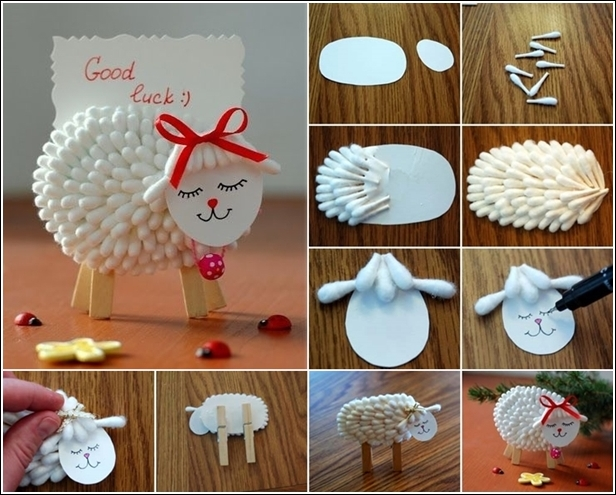 DIY cute cotton swab lamb name card holder