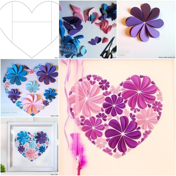 How to Make Easy Paper Heart Flower Wall Art DIY Tutorial