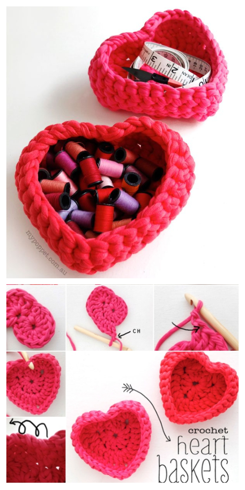 Heart Shaped Basket Free Crochet Patterns from Old T-shirts