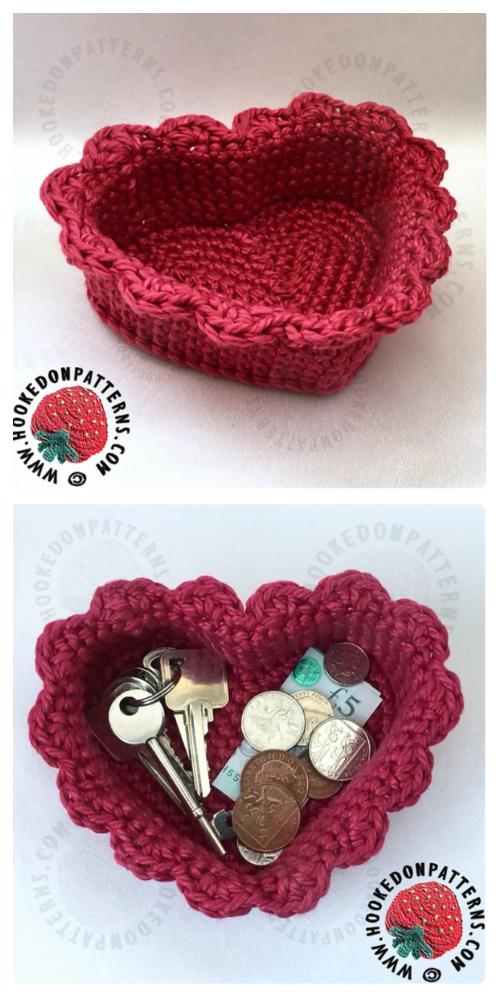 Simple Heart Shaped Basket Free Crochet Patterns