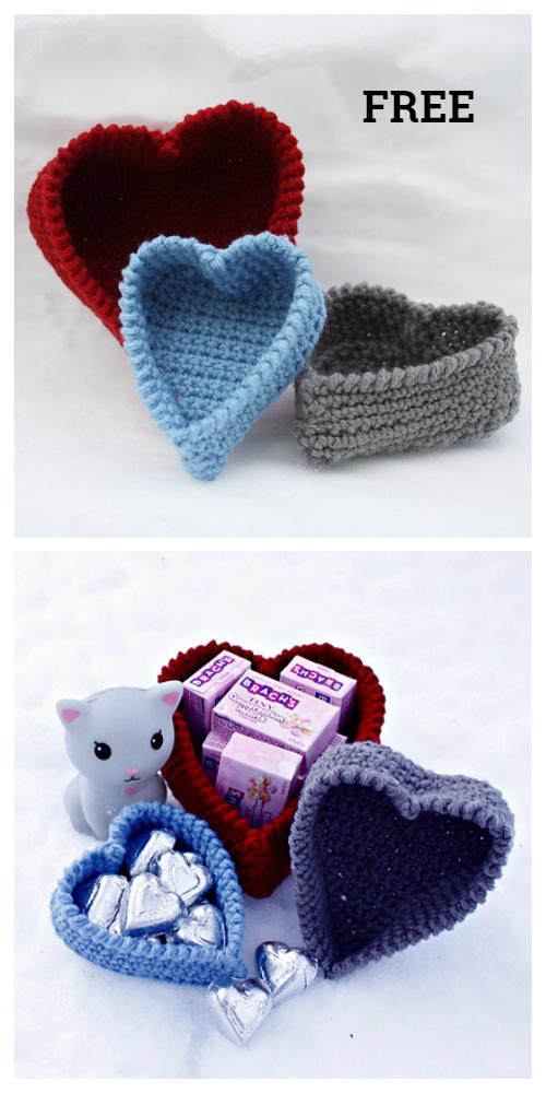 Heart Shaped Basket Free Crochet Patterns