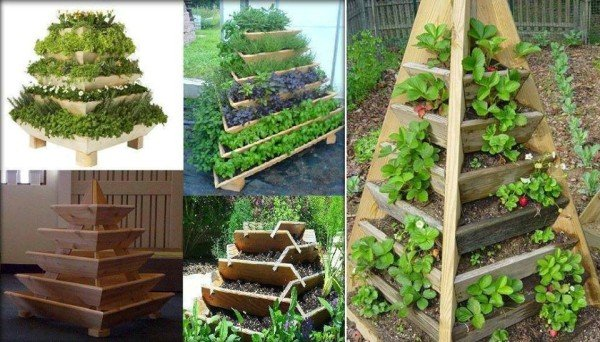 How to DIY Vertical Pyramid Tower Garden Planter tutorials