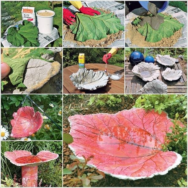 Diy Sand Cast Birdbath In Leaf Shape